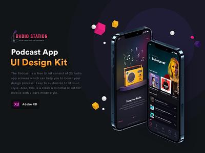 Podcast App free UI kit blender 3d adobe xd branding ux app adobe ui illustration graphicdesign consept uiux