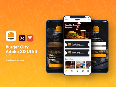 Burger City - Free Adobe XD UI kit burger free ui kit ui kit food app food design branding ux adobe vector ui illustration app consept mobileapp graphicdesign uiux
