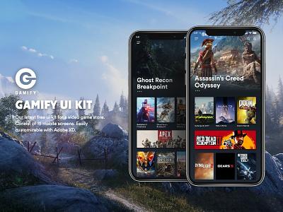 GAMIFY Free UI kit gaming gamer game illustration graphicdesign adobe ux vector ui design consept app logo mobileapp uiux