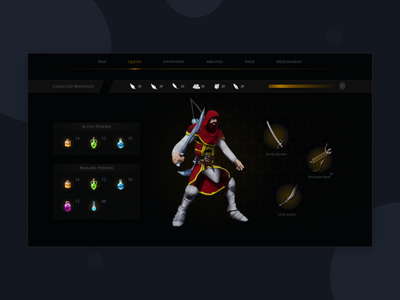 Inventory menu for action RPG game. rpg gaming game design game art game ui game adobe xd icon typography animation ux adobe vector ui illustration graphicdesign consept uiux