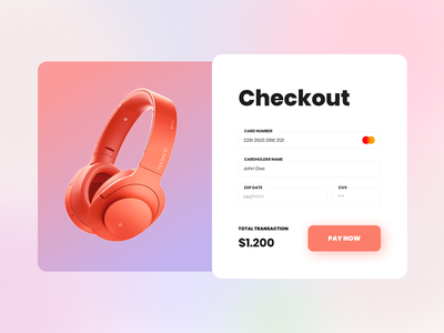 Daily UI 02 - Checkout Credit Card dailyuichallenge dailyui 002 dailyui pay now checkout form checkout page gradient pay payment credit card checkout