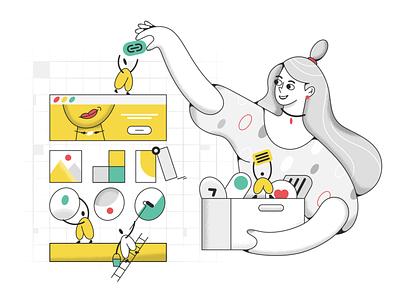 Create a web site v1.0 product webdesign ui character design design illustration