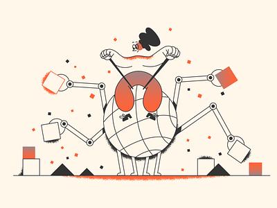 Planet under construction! webdesign product ui character design design illustration