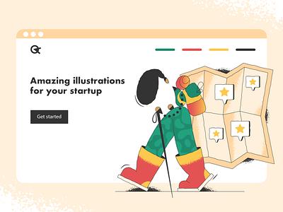 Come back later! travel map webdesign product vector ui character design design illustration