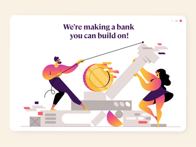 A bank you can build on! webdesign product vector ui character design design illustration