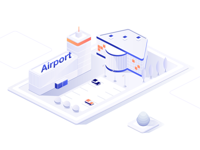 Airport animation motion flat explainervideo motion art isometric illustration isometric design isometric airport design vector illustration