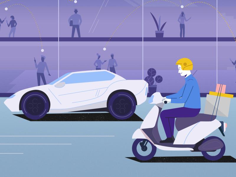 Fast delivery! designer 2d art illustrator 2d design courier scooter car delivery 2d character explainer character charachters motion explainervideo character design animation flat illustration vector design