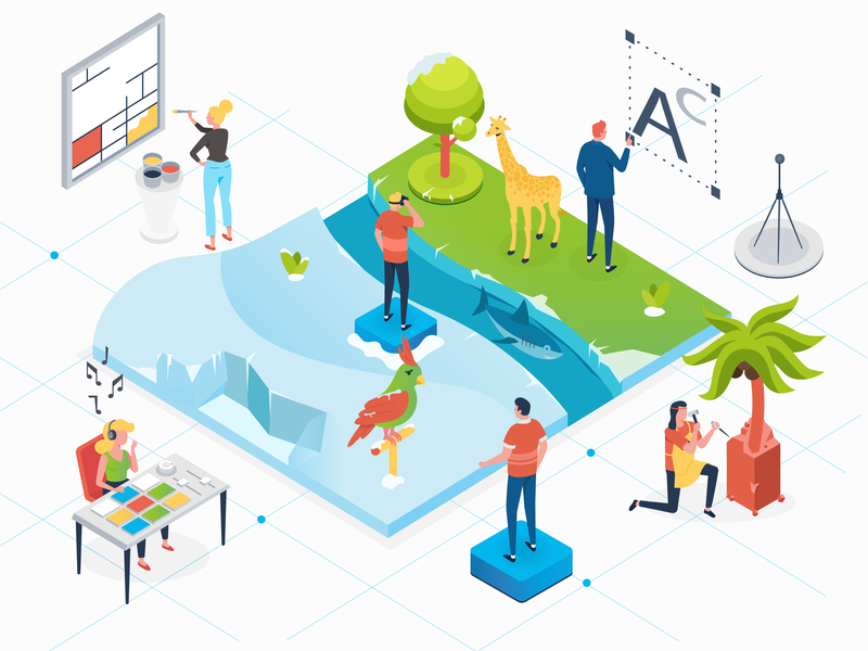 Virtual reality sculpting tree ice shark 2d character illustrator isometric icons isometric illustration isometric design isometric 2d design designer character charachters motion explainervideo character design vector illustration design