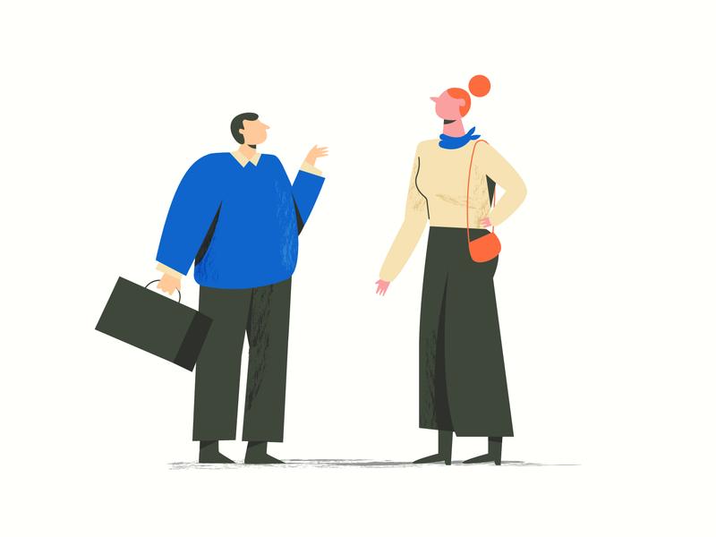Business partners girl business flat isometric illustration professor designer man woman explainer 2d art design motion 2d character character charachters animation illustration vector explainervideo character design