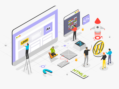 Web Design 2d character 2d design coding html 5 wordpress launch isometria isometric animation isometric design isometric art isometric adobe ui  ux charachters motion explainervideo character design illustration design vector
