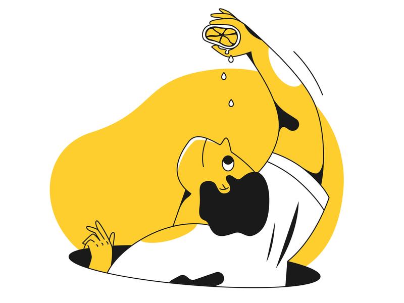 Fatal error! 2d art 2d design charachters character branding 2d character man idiot illustrator moron fatal fatal error error lemon danger flat character design illustration design vector