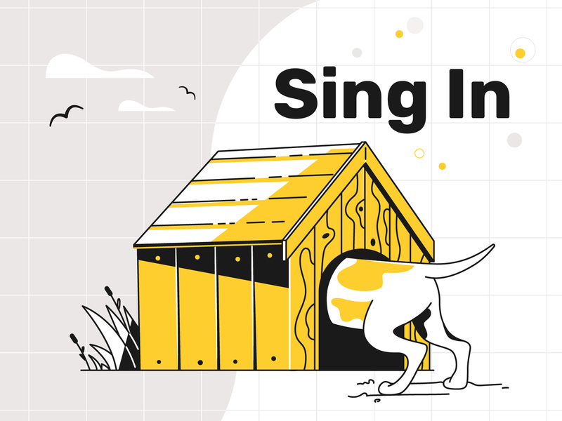 Attention Test! doggy dog sing in sing up website ui product flat designs design vector illustration character design character searching care search