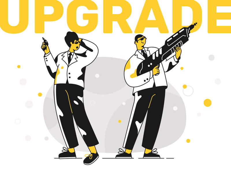 Upgrade! magazine illustration upgrade website ui product flat designs design vector illustration character design character