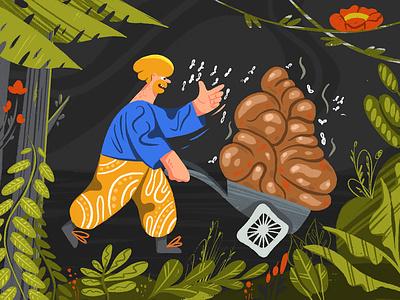 Dirty Job! procreate shitty website ui product illustration design character design