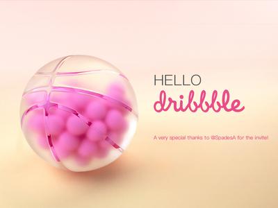 Hello, Dribbble ! basket c4d pink