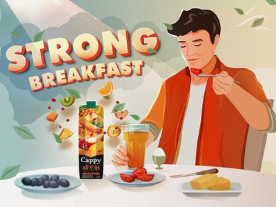 Cappy Atom atom 3dtext coca-cola orange texture pattern business casual man enjoy lineart line leaves sun lights morning eating fruits power juice breakfast