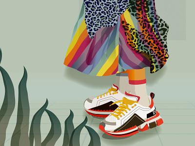 Sneakers brushes illustration energy vector woman girl pattern colorful illustrator sneaker