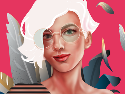 Self Portrait Simple Version texture realistic portrait realistic illustration art adobe illustrator adobe hireme hiring energy illustrator design girl pattern woman vector character illustration