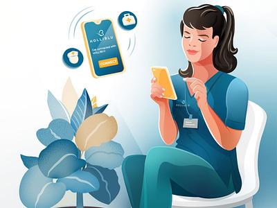 Holliblu App Illustration 01. design woman girl character vector illustration app health nurse medicine