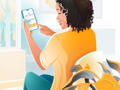 Holliblu App Illustrations 02. medicine health nurse design texture brushes energy pattern colorful woman vector character illustration