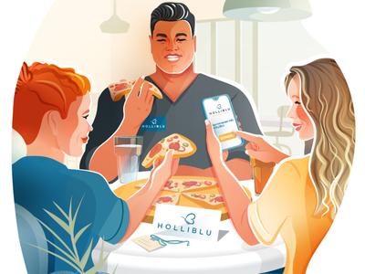 Holliblu App Illustrations 03. app design pizza hire illustrations texture ux ui illustrator design vector woman character nurses app illustration