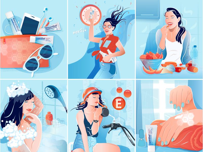 Bepanthol Instagram Story Illustrations vector design illustration
