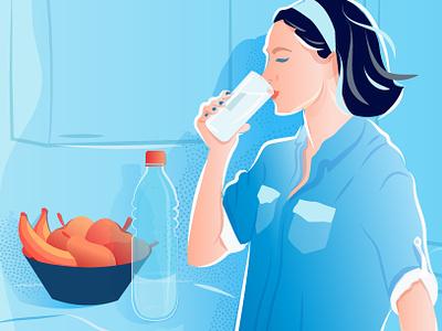 Bepanthol Instagram Story Illustration wacom trendy fruits health water drinks brushes colorful character illustration