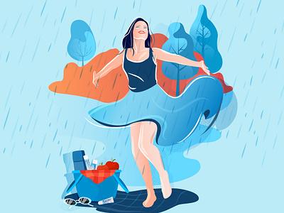 Bepanthol Rainy Days skincare rain girl character branding colorful illustration