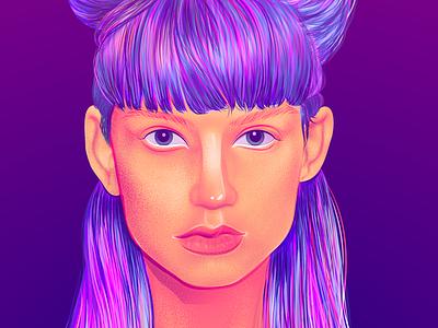 Neon Girl brushes character illustration vector woman illustration girl woman