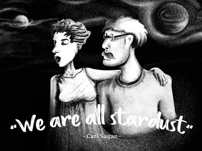 We are all stardust Baby! black white girl character vector illustration