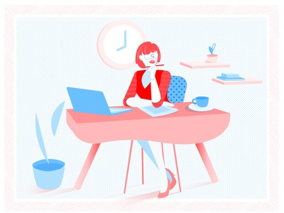 Office Girl looking thinking lifestyle modern fresh two colors blue red pattern time work business