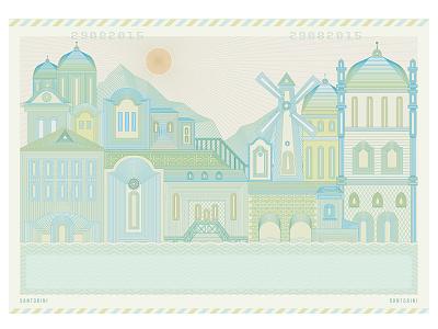 Santorini landscape sun hometown wedding card postcard lineart vector illustration