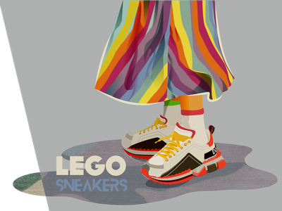 Lego Sneakers LOVE COLORS :) pattern street fashion girl illustration design skirt texture colorful sneaker