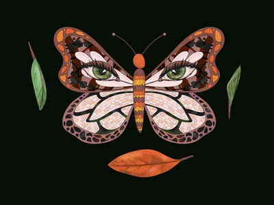 The Painted Lady eyes leaf leaves black nature painting painted lady butterfly drawing design illustration of the day illustraion