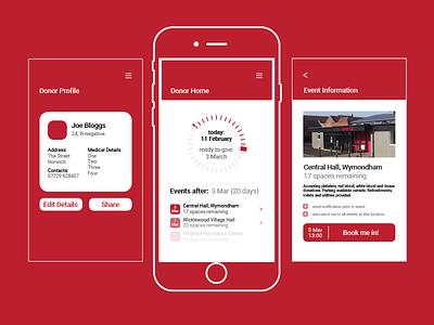 Give Blood Campaign - App app mobile ui design ux design product design pharmacy marketing healthcare health concept campaign blood donation