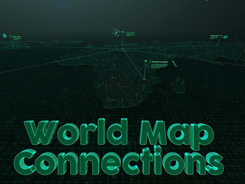 World Map Connections - Cinema 4D Templates worldwide world telecommunication technology path network map hi tech global connect communication cinema 4d c4d business 3d