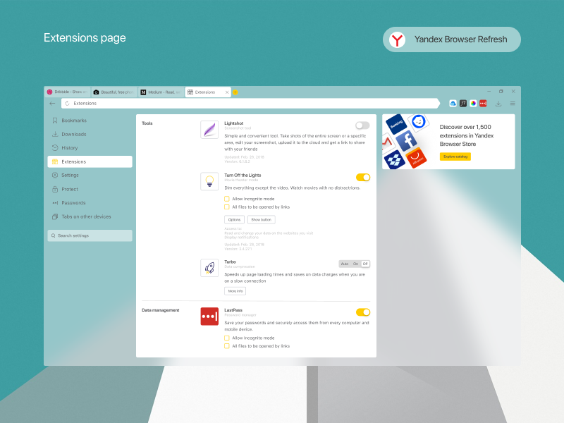 Yandex Browser refreshing - Extensions by Andrew Gaewski on