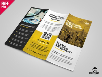 TriFold Brochure PSD Template psd daddy download psd freebie trifold creative corporate clean business brochure branding advertising