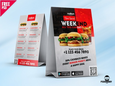 Restaurant Table Tent Menu PSD Template tent card table tent restaurant menu psd template psd price menu menu template free psd freebie food menu fast food cafe menu