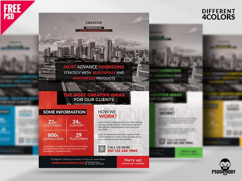 Multipurpose Corporate Flyer Free PSD Set psd template psd flyer psd free template free psd free flyer freebie flyer bundle creative agency corporate flyer