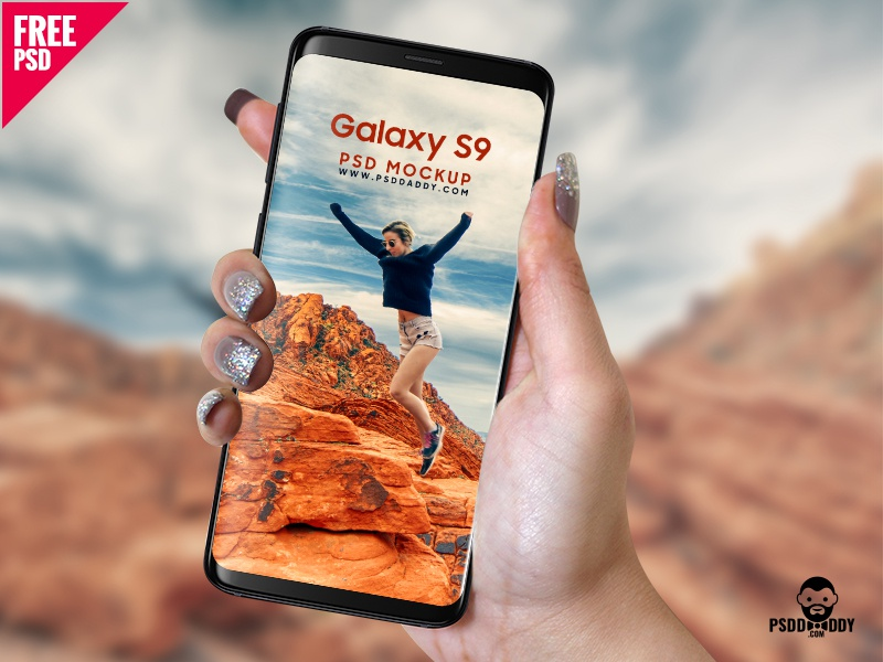 Samsung Galaxy S9 in Hand PSD Mockup samsung galaxy s9 galaxy s9 mockup phone mockup s9 mockup s9 samsung phone new s9 mockup galaxy s9 in hand galaxy s9 in hand freebie