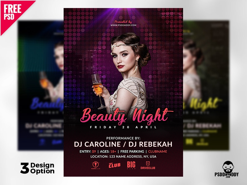 beauty night flyer template free psd by mohammed asif dribbble
