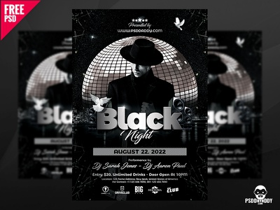 Black Night Club Flyer PSD night club flyer psd free psd party night graphic free psd flyer design dj business flyer disco party disco flyer