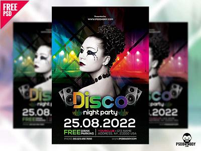 Disco Night Party Flyer Free PSD psd free psd promotion party night graphic free psd flyer design dj business flyer disco party disco flyer