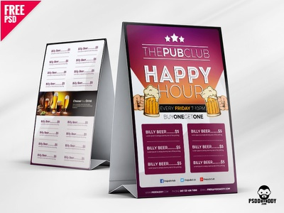 Beer Cafe Tent Card Free PSD cafe menu fast food food menu freebie free psd menu template price menu psd psd template restaurant menu table tent tent card