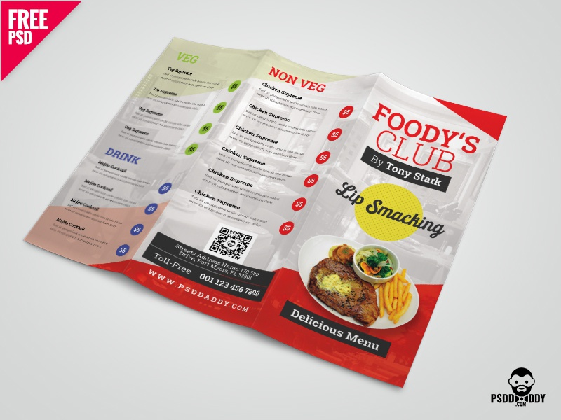 restaurant tri fold brochure menu psd by mohammed asif dribbble