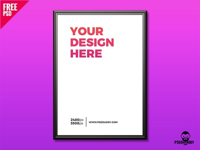 Wall Photo Frame Mockup Free PSD psd poster mockup picture frame photo frame mockup psd mockup free psd freebie free frame flyer mockup download