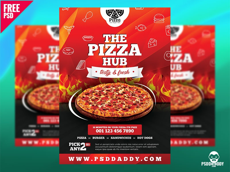 pizza hub free flyer template by mohammed asif dribbble dribbble