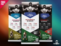 Gym Roll-Up Banner Free PSD Bundle