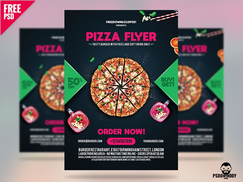 pizza flyer free template by mohammed asif dribbble dribbble